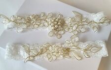 Wedding Bridal Garter Set - Vintage Pearl Crystal Wedding Garter Set
