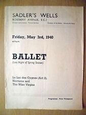 1940 Ballet Program- Ninette De Valois's LE LAC DES CYGNES/NOCTURNE/WISE VIRGINS
