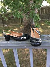 "Miz Mooz  Women's Black Leather Slingback Shoes  Heels Style ""Emily"" Size 9"