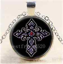 Gothic Cross Photo Cabochon Glass Tibet Silver Chain Pendant Necklace