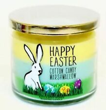 HAPPY EASTER Bath Body Works Candle 3 Wick 14.5 oz Rare COTTON CANDY MARSHMALLOW