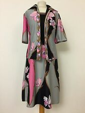 TRUE VINTAGE 70's TRICOVILLE PSYCHEDELIC PINK DRESS JACKET SUIT 8 10 Wedding