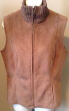 Ann Taylor Faux Fur Lined Zip Up Vest Beige/ Tan Medium