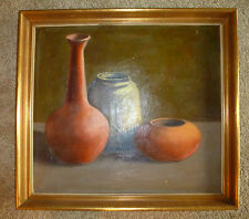 """Vintage Original Oil Painting STILL LIFE POTTERY Canvas 23"""" x 21"""" Signed"""