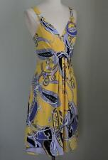 EUC TAHARI Yellow, Purple Black & White Matte Jersey Dress Medium (USED ONCE!)