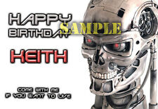 Terminator Skynet cyborg sci-fi robot personalised Greeting Birthday ART Card