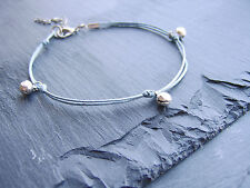 blue wax cotton cord tiny silver bell charm anklet ankle chain boho festival