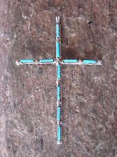 Zuni Indian Sterling Silver & Turquoise Cross Pendant! Native American
