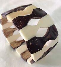 """Horn Bone and Coconut Shell BRACELET HANDMADE 1.5"""" width NEW"""