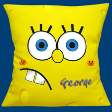 "PERSONALISED SpongeBob SquarePants ADD CHOICE OF NAME 16"" Pillow Cushion Cover"