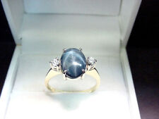 RICH BLUE GENUINE STAR SAPPHIRE 3.01 CTS  and DIAMONDS  14K Y/W GOLD RING