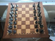 Pewter Medieval Fantasy Chess Set castle unicorn joker king queen Norm Collignon