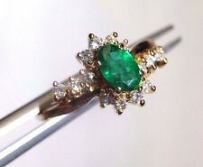 Deep Brilliant Green Natural Emerald and Diamond 14K Yellow Gold Ring Size 6