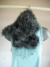 """Short Funky Fur knitted scarf, black and grey, 28"""" long, 7"""" wide"""