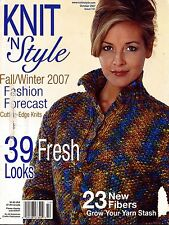 Knit n Style October 2007 Fall Winter Sweater Coat Scarf Hat Knitting Patterns
