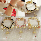 New Chic Girl's Gold Chain Star Leather Rope Handmade Bangle Charm Bracelet Gift