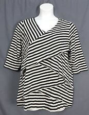 plus size WOMAN WITHIN cross stripe tiered 3/4 sleeve knit TUNIC L 18 20 blk n2