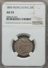 1893 Hong Kong 20 Cents, NGC AU 55