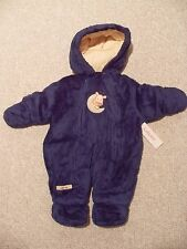 NWT Boys Carter's Blue Infant Velboa Pram Bunting Snowsuit 6-9 months Cow Moon