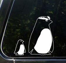 """Penguin Rockhopper Mom and Baby Chick - D2 - Car Vinyl Decal (4""""w x 4""""h) (WHITE)"""