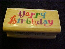 Happy Birthday Wood Mounted Stamp NEW OOP Stamp craft