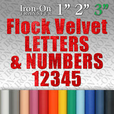 Flock Velvet Letters & Numbers Iron on Hot Fix FABRIC T-SHIRT TRANSFER Sticker