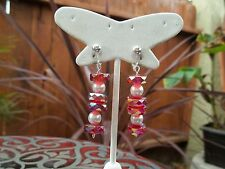 Very Pretty Red & White Glass Beaded Drop/Dangling Clip On Earrings