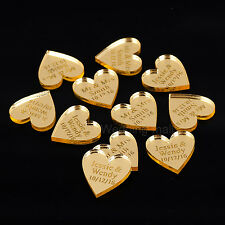 Personalized Engraved Mr & Mrs Surname Love Hearts Wedding Table Decor Favours