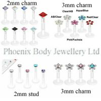 Bioflex Labret Monroe Helix Tragus Crystal Top 16g Cartilage Upper Ear Stud Bar