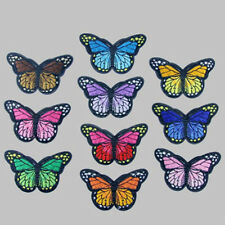 10Pcs Iron On, Stick On Fabric Butterfly Motifs, Craft,Sewing,Embroidery,Patches