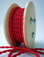 Red Cloth Covered Twisted Electrical Wire 25 ft - Lamp Cord - Steampunk Pendant