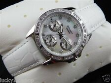 SHN-3013L-7A White Casio Watches Sheen Mineral Glass Date Day Genuine Leather