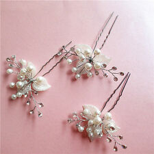 2 Wedding Bridal Bridesmaid Pearl Crystal Leaf Headpiece Hair Pin Hairpin