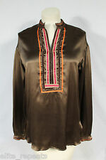 NWT MAX MARA Brown 100% Silk Blouse Size M, $190, Fall Fashion, Orange Trim