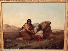 SIGNIERT ÖL GEMÄLDE ANTIK 1865 ? HAGAR ISMAEL WÜSTE FELSEN 69x58 desert painting