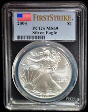 2004 PCGS MS69 FIRST STRIKE AMERICAN EAGLE Walking Liberty Silver Dollar