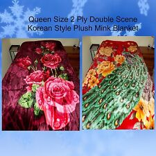 NEW QUEEN 2PLY KOREAN STYLE RED ROSES / PEACOCK BIRD & FLOWER PLUSH MINK BLANKET
