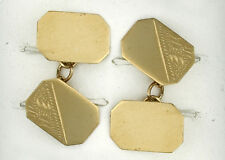 9ct Yellow Gold Rect Engraved Cufflinks Made To Order in Jewellery Quarter B'ham