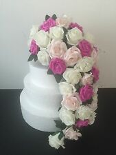 wedding flowers Ivory pink rose large heart cake topper bouquet bride