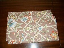 vintage floral table cloth 52 x 66 inches tan & blue