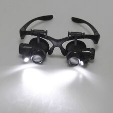 Loupe With LED Light Double Eye Black Jewelry Watch Repair Magnifier Glasses NEW