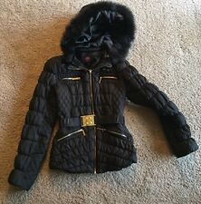 BEBE Quilted Puffer Jacket XS + Removable Hood and Belt