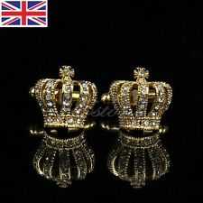 Vintage Novelty Stainless Steel Golden Crown Round Wedding Gift Mens Cuff Links