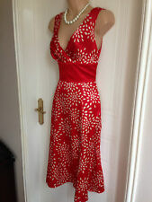 Size 1 uk 6 Ted Baker Knee Length Red and Cream Silk Dress BNWT RRP £140