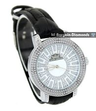 ladies diamonds silver tone watch clubbing bling designer styling deluxe 3 strap