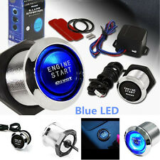Blue Car Round Ignition Switch Push Botton Engine Start 12V Wired Controller NEW