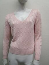 RALPH LAUREN BLACK LABEL Pink Silk Cable Knit Deep V-Neck Sweater Size M