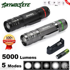 5000Lm CREE XM-L T6 LED Taschenlampen 5Mode Tactical Flashlight 18650+Ladegerät