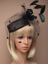 LADIES BLACK HAIR FASCINATOR HEAD 5490 elastic FEATHER RACES WEDDING LADIES hat