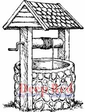 Deep Red Cling Rubber Stamp Wishing Well Make a Wish Water reserve